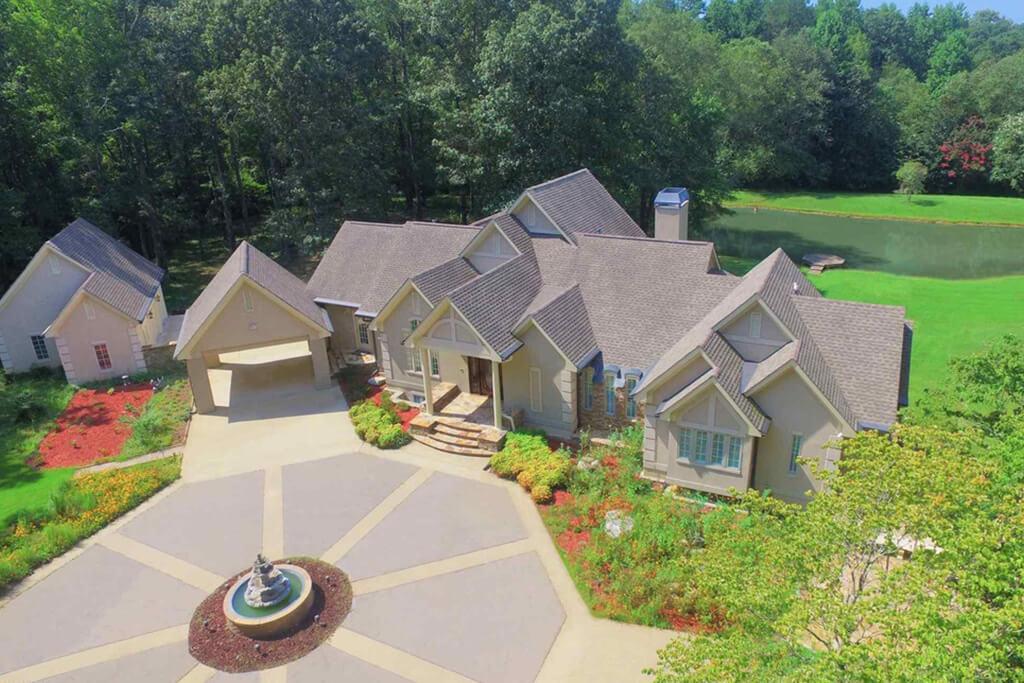 birdseye view of house